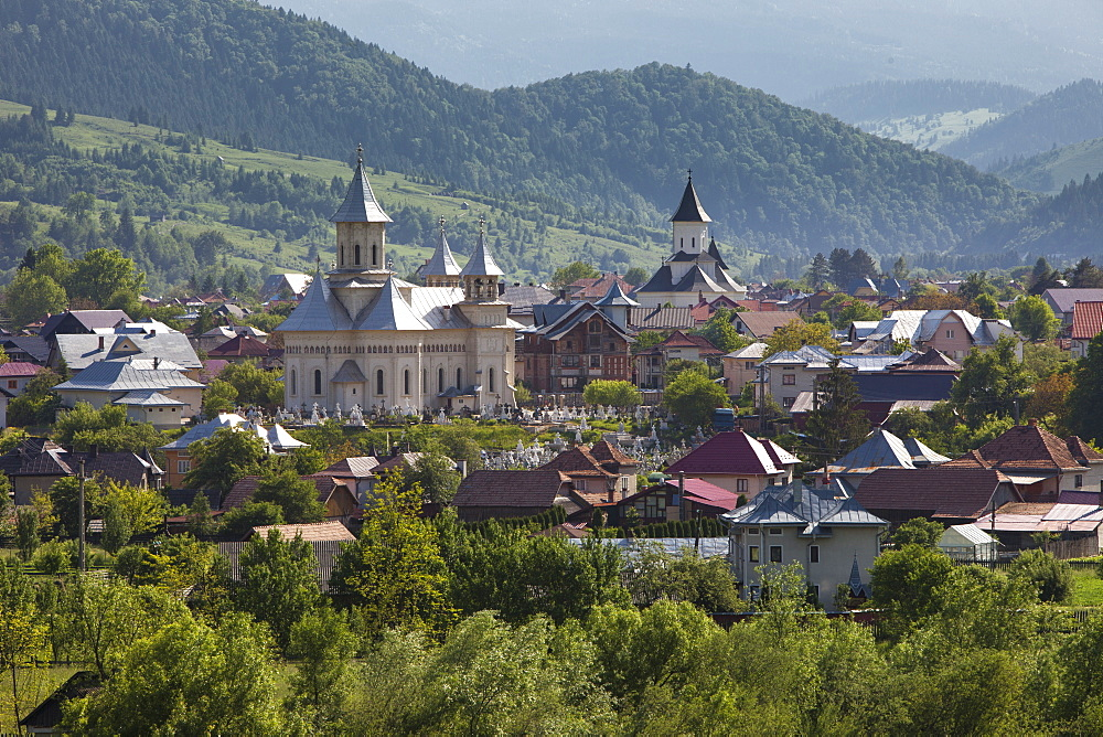 Town nestled in valley in foothills of Carpathian Mountains where churches are the dominant buildings in the village - 385-1754