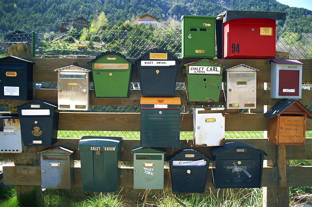 Post boxes, La Malana district, Andorra, Europe