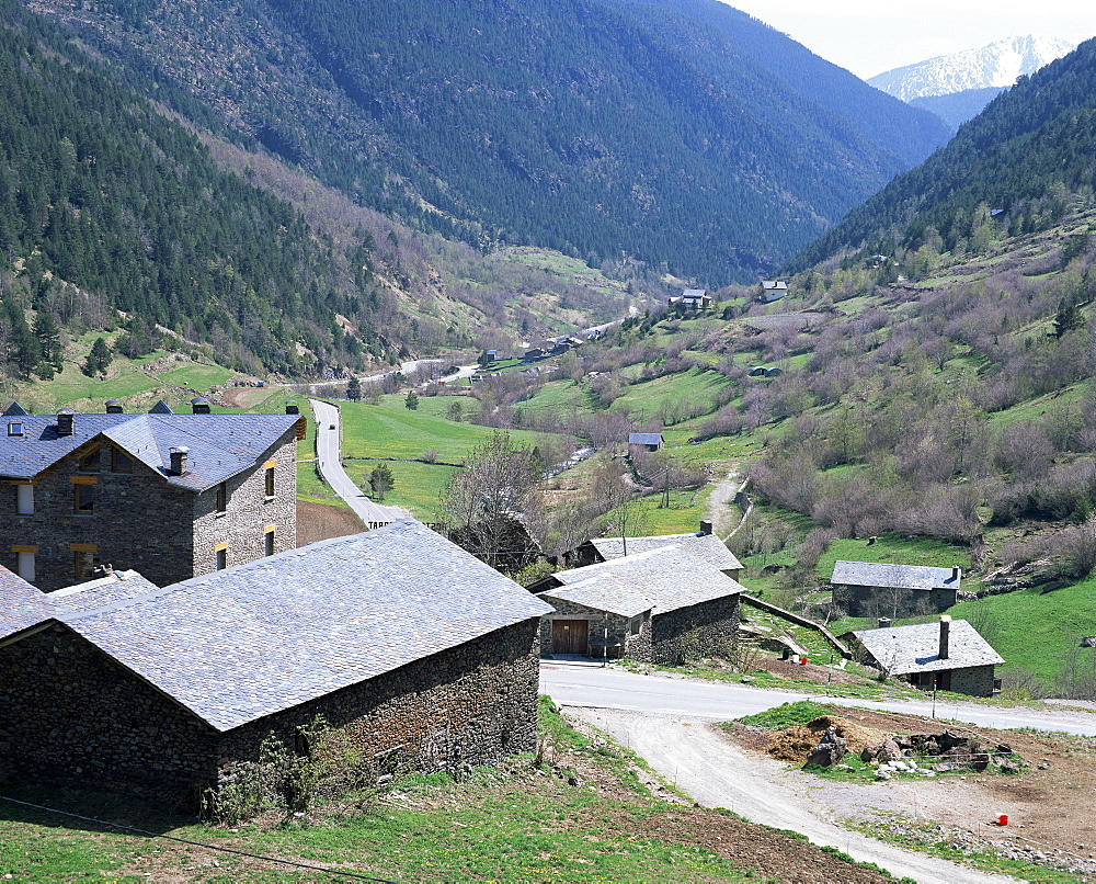 Barns and farms, constructed with local building materials, La Massana, Andorra, Europe