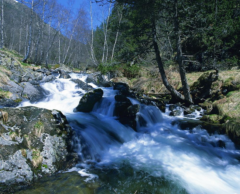 A mountain stream in La Massana in Andorra, Europe