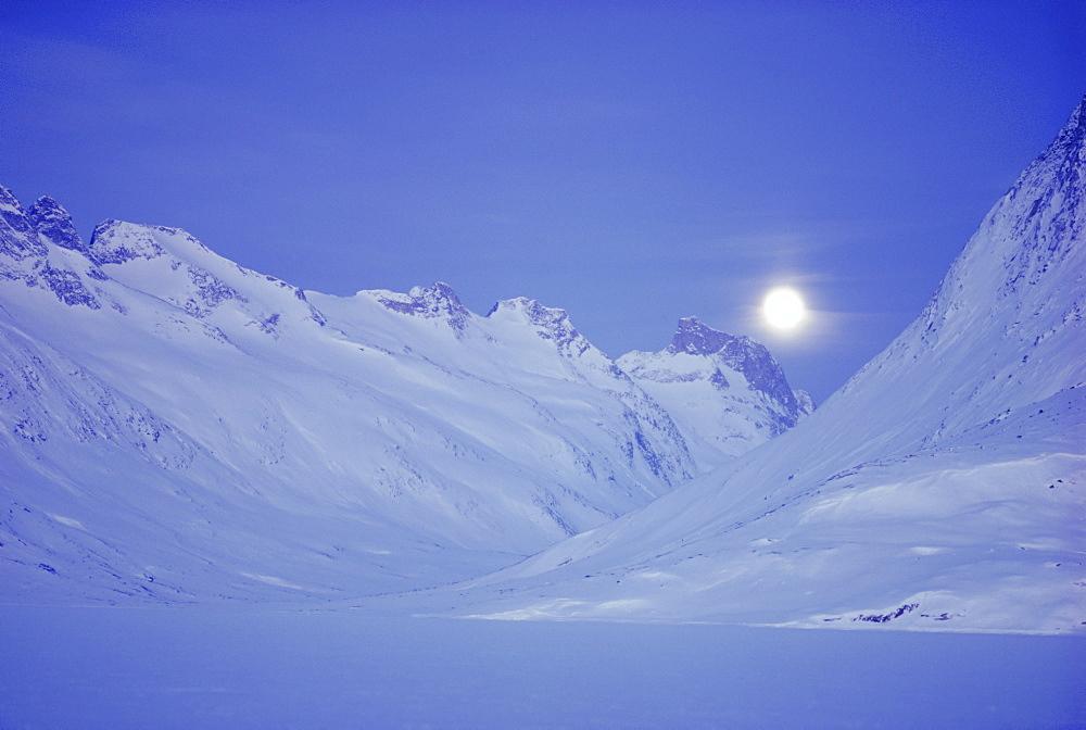 Moonrise at Tinitiqacaqacaq, East Greenland, Greenland