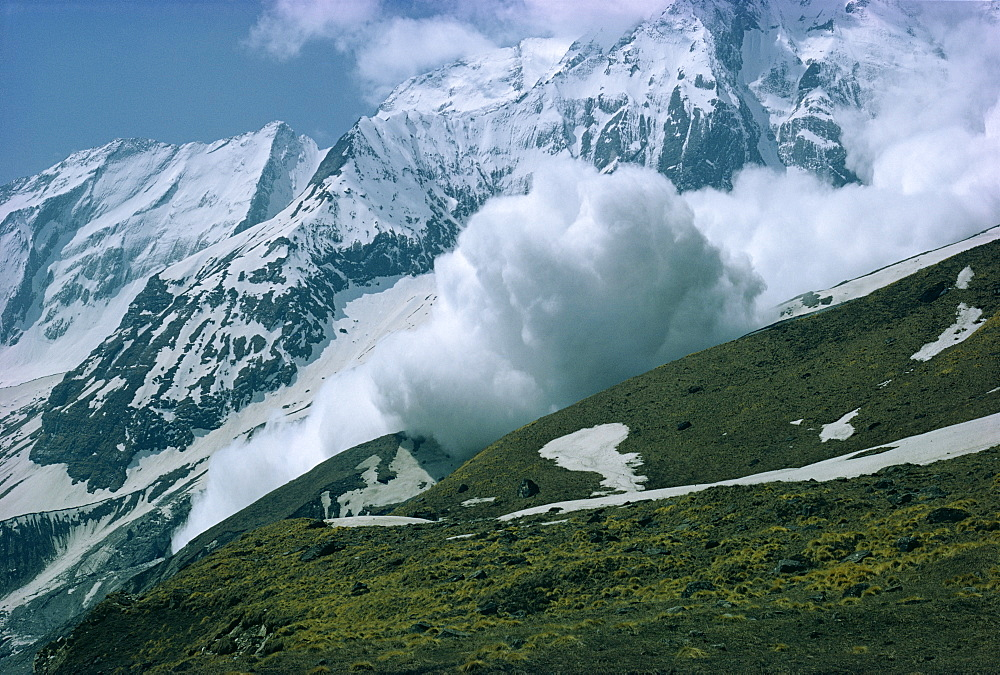 An avalanche on Hiunchuli in the Himalayas in Nepal, Asia