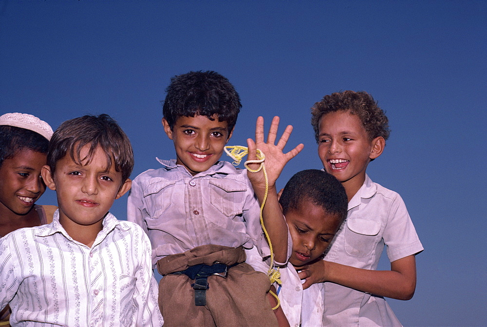 Portrait of young boys, Bait al Fadih, Yemen, Middle East