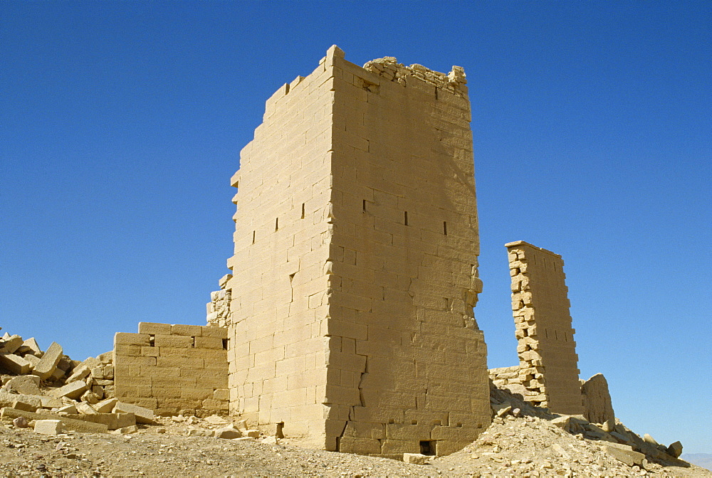 The north and south towers of the East Gate of Ma'in, (ancient Qarnali), Yemen, Middle East