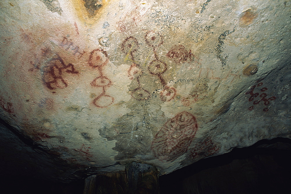 Indian rock paintings, Fontein Caves, Arikok National Park, Aruba, West Indies, Caribbean, Central America