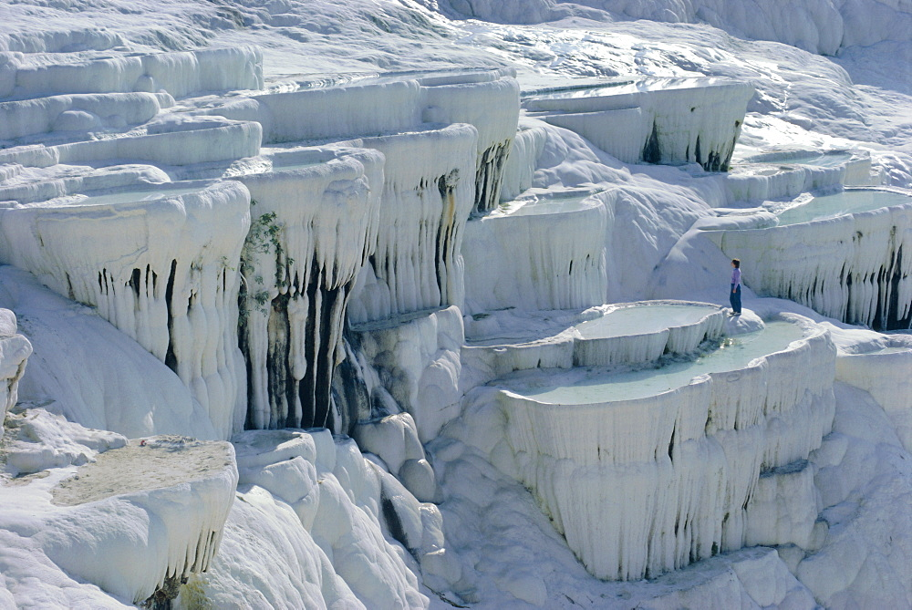 Calcified limestone terraces, Pamukkale, Turkey, Eurasia
