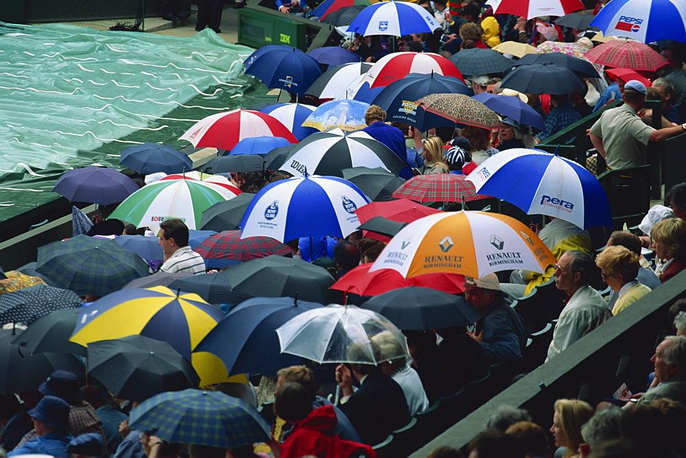 Umbrellas, Wimbledon tennis championships, London, England, United Kingdom, Europe