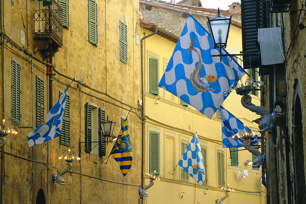 Flags of the Onda (Wave) contrada in the Via Giovanni Dupre, Siena, Tuscany, Italy, Europe