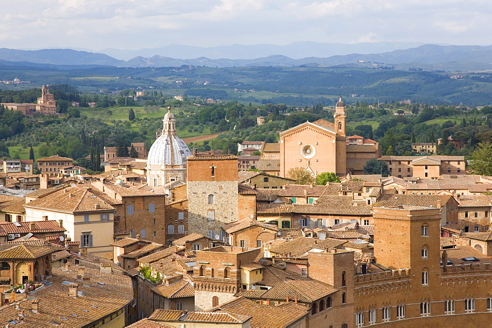 View over city rooftops to rolling hills, the Basilica of San Francesco prominent, UNESCO World Heritage Site, Siena, Tuscany, Italy, Europe