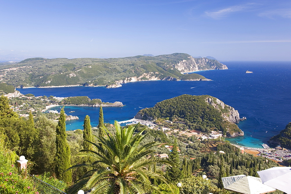 View over Liapades Bay from hilltop viewpoint near Lakones, Paleokastritsa, Corfu, Ionian Islands, Greek Islands, Greece, Europe - 390-2908