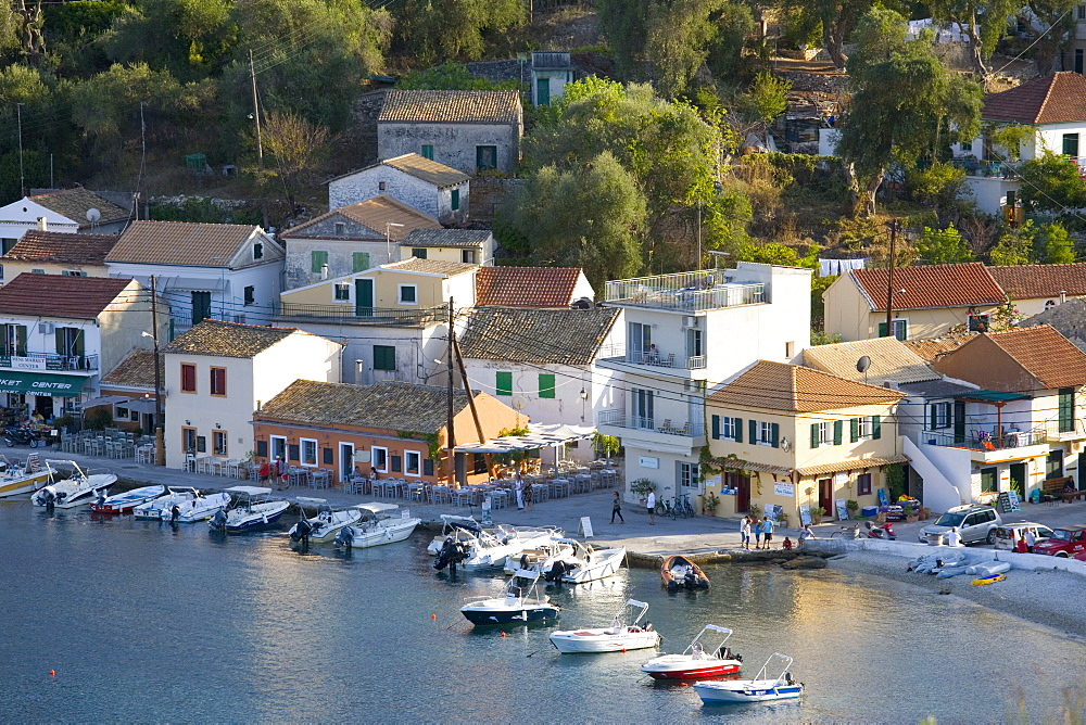 View over the harbour from hillside, Loggos, Paxos, Paxi, Corfu, Ionian Islands, Greek Islands, Greece, Europe - 390-2918