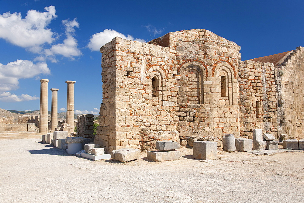 Remains of the Byzantine church of Agios Ioannis on the Acropolis, Lindos, Rhodes, Dodecanese Islands, South Aegean, Greece, Europe