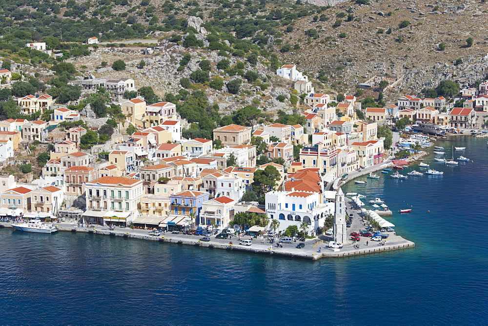View over the picturesque waterfront, Gialos (Yialos), Symi (Simi), Rhodes, Dodecanese Islands, South Aegean, Greece, Europe - 390-2936