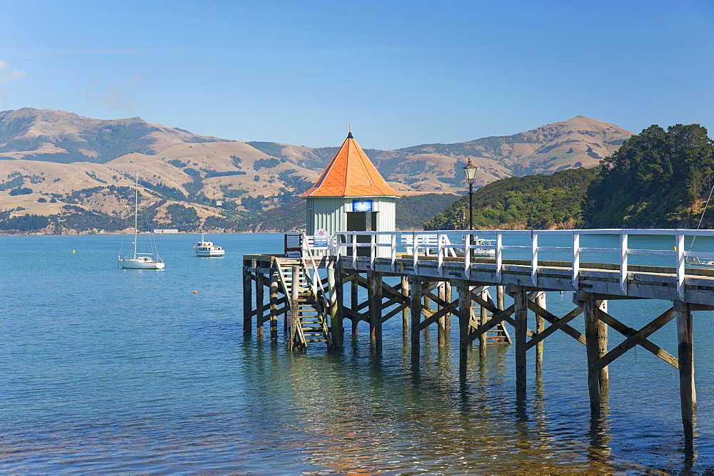 Daly's Wharf, an historic jetty overlooking Akaroa Harbour, Akaroa, Banks Peninsula, Canterbury, South Island, New Zealand, Pacific - 390-2942