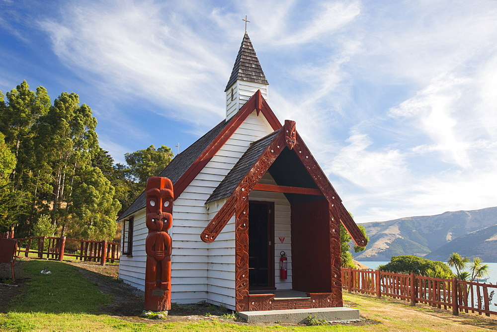 Historic Maori church on hillside above Akaroa Harbour, Onuku, near Akaroa, Banks Peninsula, Canterbury, South Island, New Zealand, Pacific