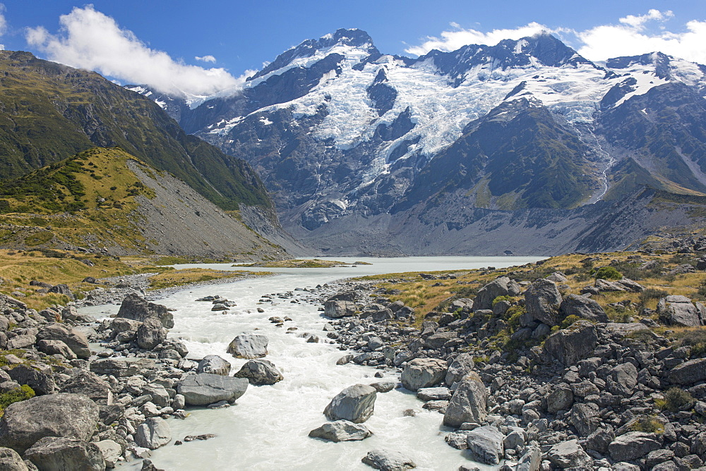 View along the Hooker River to Mount Sefton, Aoraki (Mount Cook) National Park, UNESCO World Heritage Site, Mackenzie district, Canterbury, South Island, New Zealand, Pacific - 390-2946