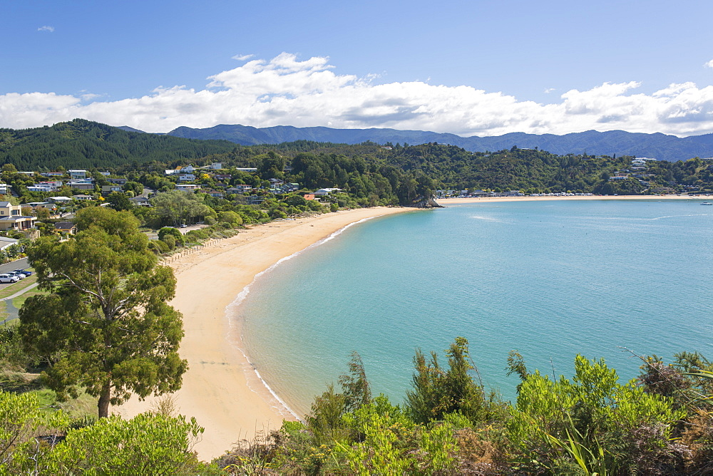 View from hillside over the sandy beach at Little Kaiteriteri, Kaiteriteri, Tasman, South Island, New Zealand, Pacific