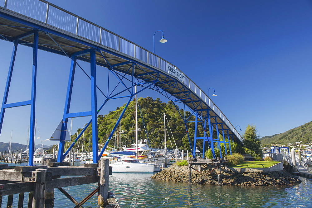 The Coathanger Bridge spanning the marina, Picton, Marlborough, South Island, New Zealand, Pacific - 390-2964
