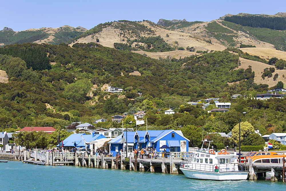 View from Akaroa Harbour to the Main Wharf, Akaroa, Banks Peninsula, Canterbury, South Island, New Zealand, Pacific
