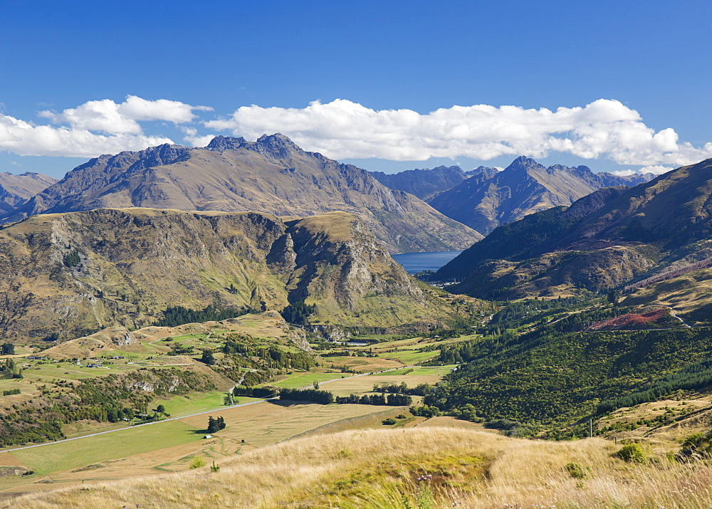 View towards Lake Wakatipu from the Coronet Peak road, Queenstown, Queenstown-Lakes district, Otago, South Island, New Zealand, Pacific - 390-2985