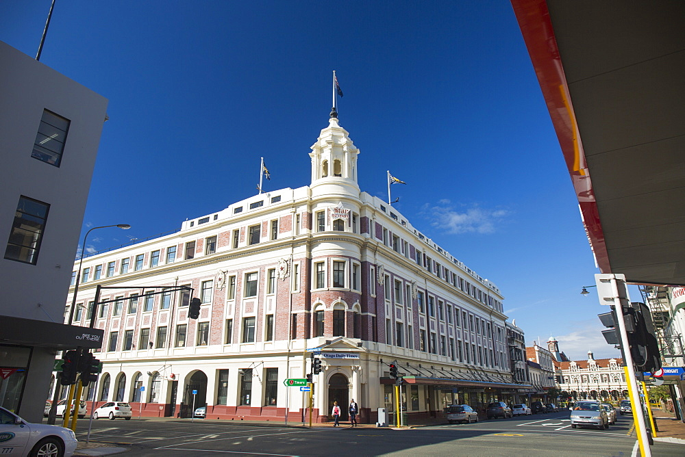 The historic Allied Press Building on the corner of Cumberland Street and Stuart Street, Dunedin, Otago, South Island