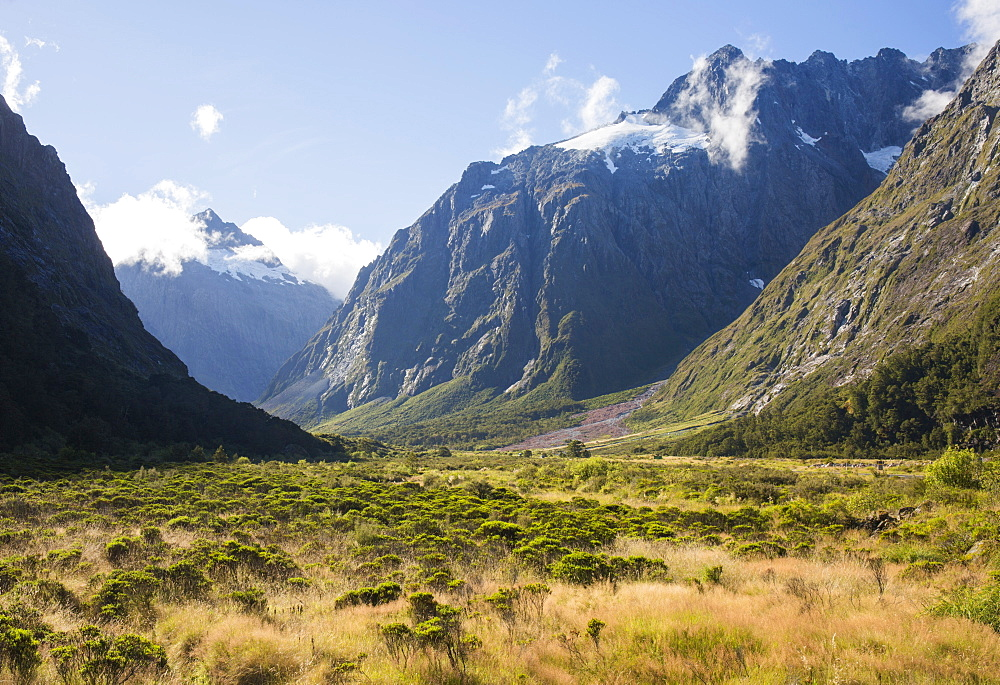 View along the Hollyford Valley to West Peak and Mount Talbot, Fiordland National Park, UNESCO World Heritage Site, Southland, South Island, New Zealand, Pacific