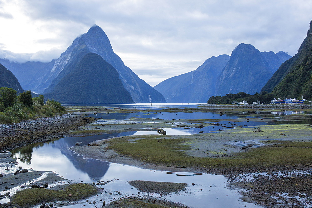 View of Milford Sound at low tide, Mitre Peak reflected in pool, Milford Sound, Fiordland National Park, UNESCO World Heritage Site, Southland, South Island, New Zealand, Pacific