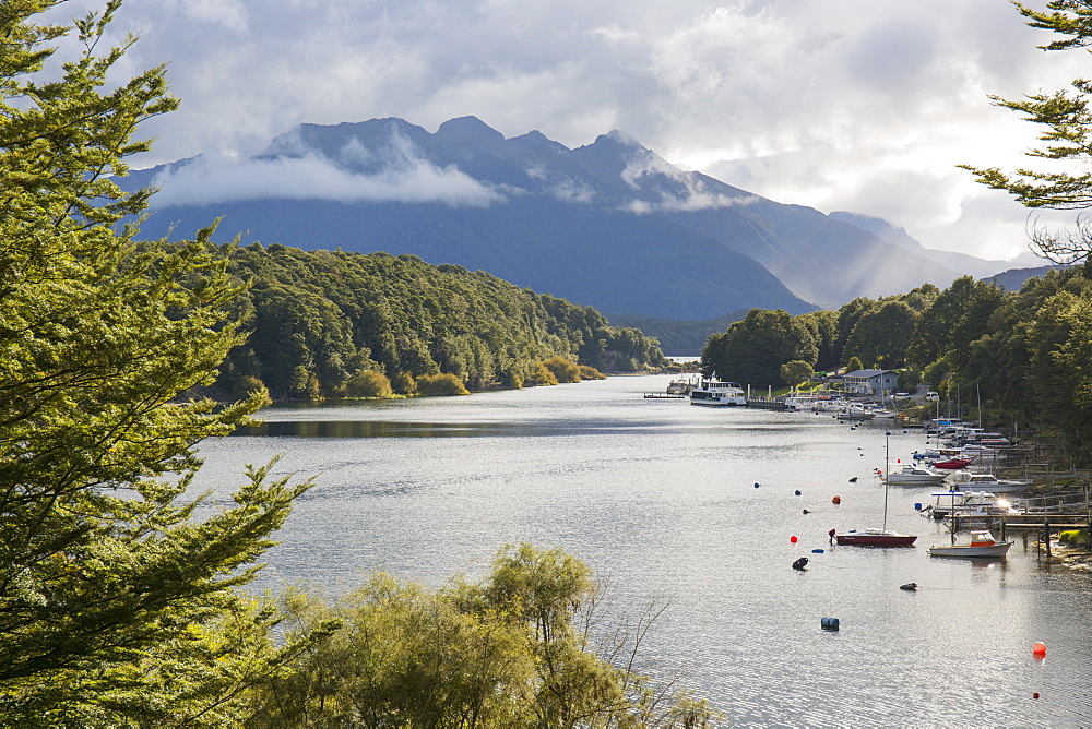 View across Pearl Harbour on Lake Manapouri, Manapouri, Fiordland National Park, UNESCO World Heritage Site, Southland, South Island, New Zealand, Pacific