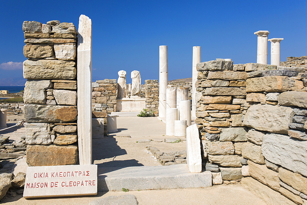 Archaeological remains of the House of Cleopatra, Delos, UNESCO World Heritage Site, Cyclades Islands, South Aegean, Greek Islands, Greece, Europe