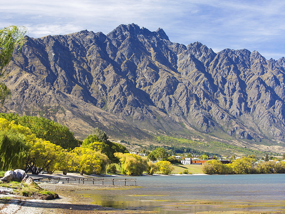 View across Frankton Arm to the Remarkables, autumn, Queenstown, Queenstown-Lakes district, Otago, South Island, New Zealand, Pacific - 390-3003