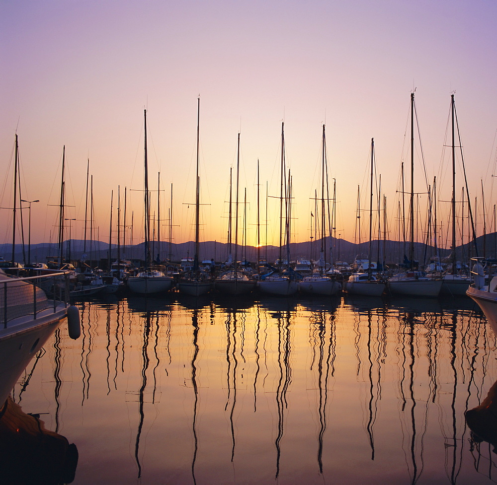 Sunset over the marina, St. Tropez, Cote d'Azur, Var, Provence, France, Europe