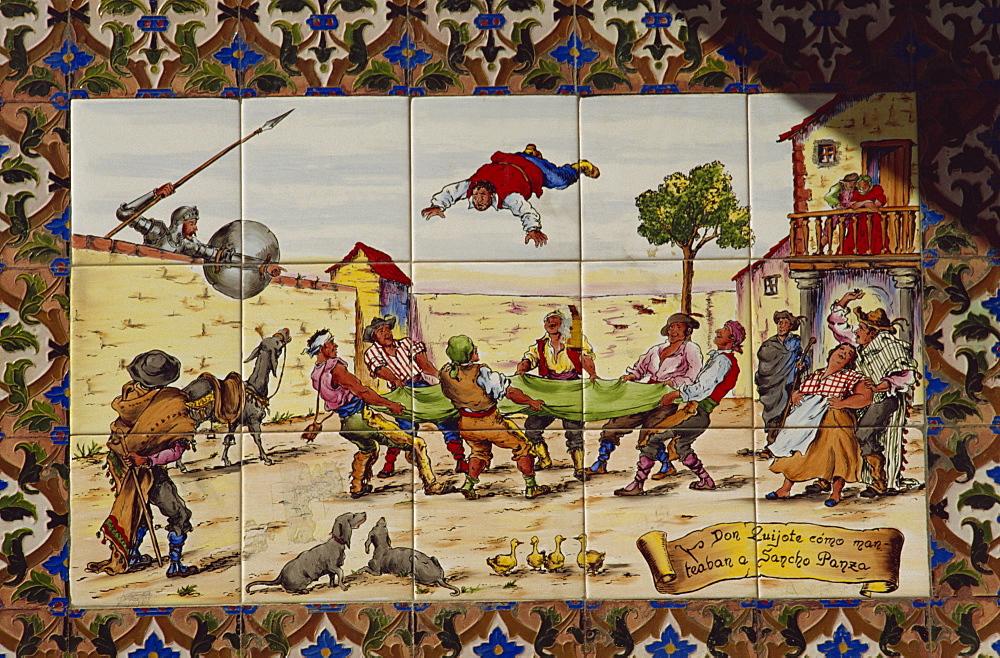Painted wall tiles of Don Quixote, Toledo, Castilla La Mancha, Spain, Europe - 391-1088