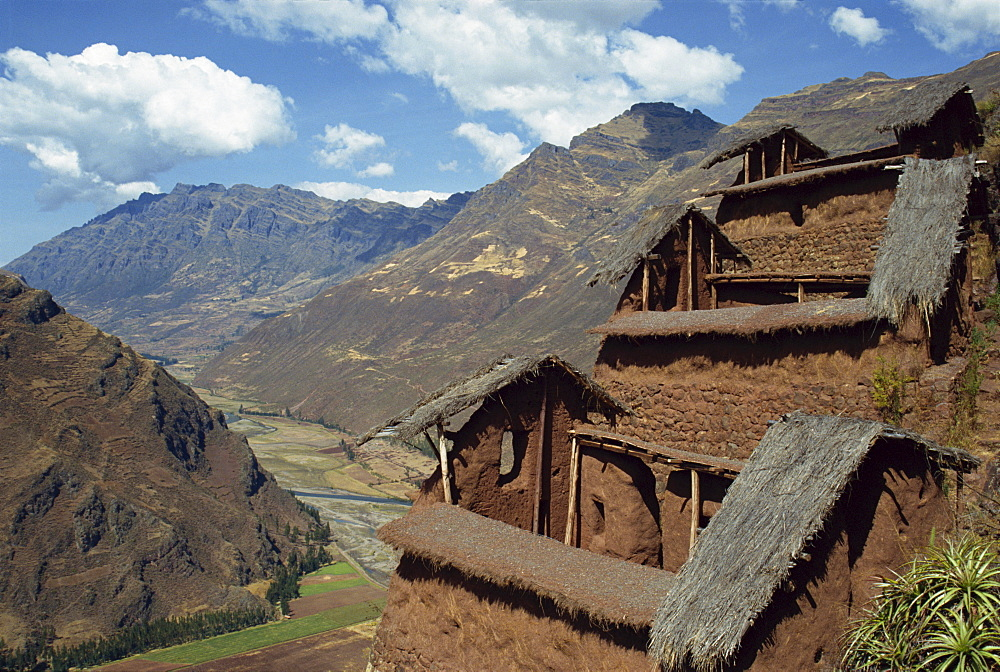 Community food storehouses at an Inca site in the Urubamba Valley, Pisac, Peru, South America