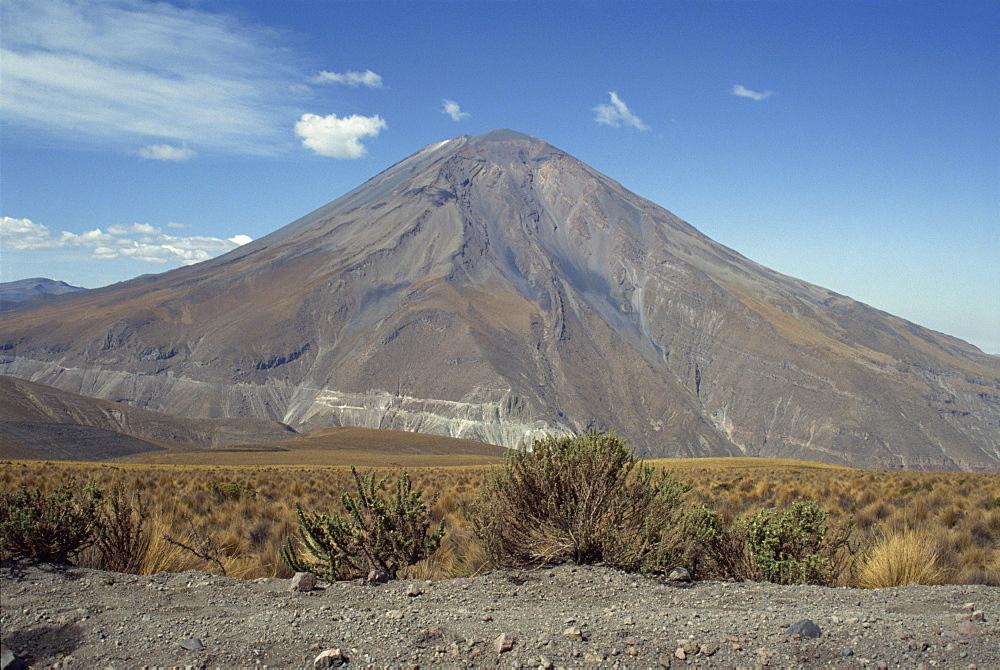 Solidified lava flows, El Misti volcano, 5821m, Arequipa, Peru, South America - 391-3360
