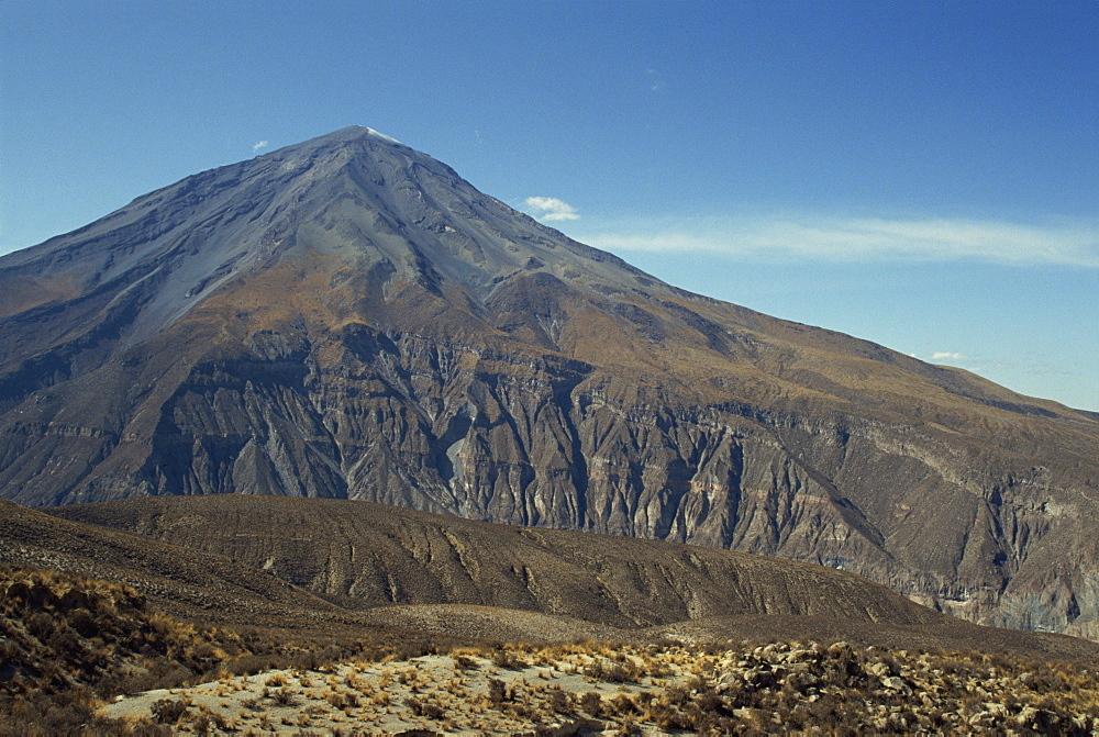Solidified lava flows, El Misti volcano, 5821m, Arequipa, Peru, South America - 391-3361