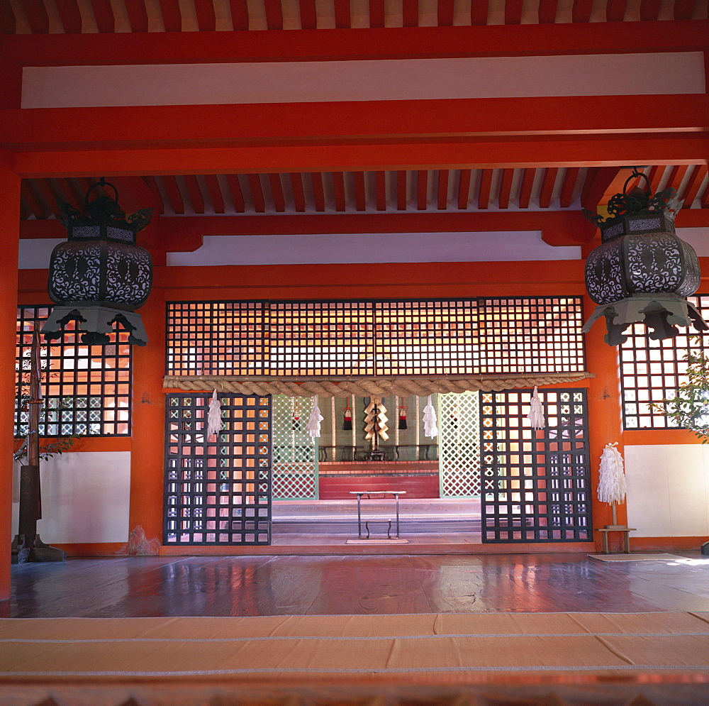 Interior of Itsukushima-jinja Shrine, Miya-Jima Island, Miya-Jima, island of Honshu, Japan, Asia