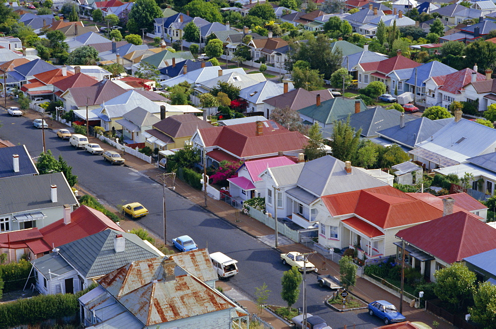 Aerial view of wooden villas, corrugated iron roofs, suburban street, Ponsonby, Auckland, Central Auckland, North Island, New Zealand, Pacific