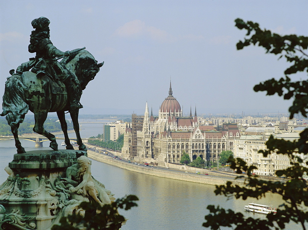 The statue of Eugene of Savoy over looking the Danube, Budapest, Hungary