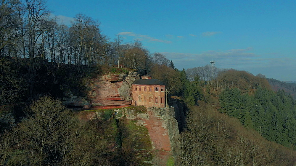 Aerial view of the Funerary Chapel for John of Luxembourg, Kastel-Staadt, Rhineland-Palatinate, Germany, Europe - 396-10295