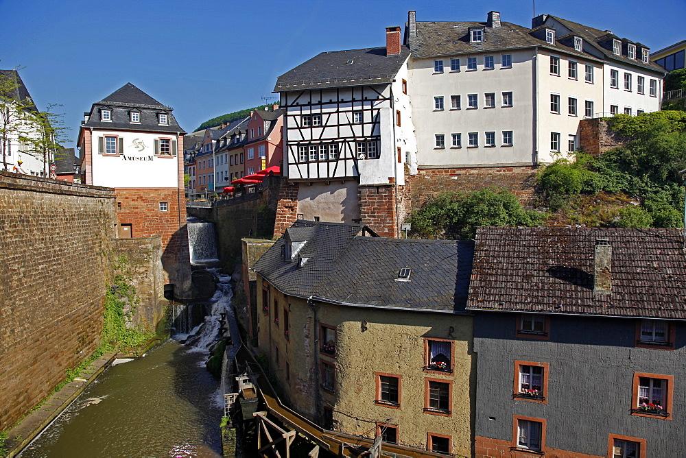 Waterfall on River Leuk in the old town of Saarburg, Saar Valley, Rhineland-Palatinate, Germany, Europe