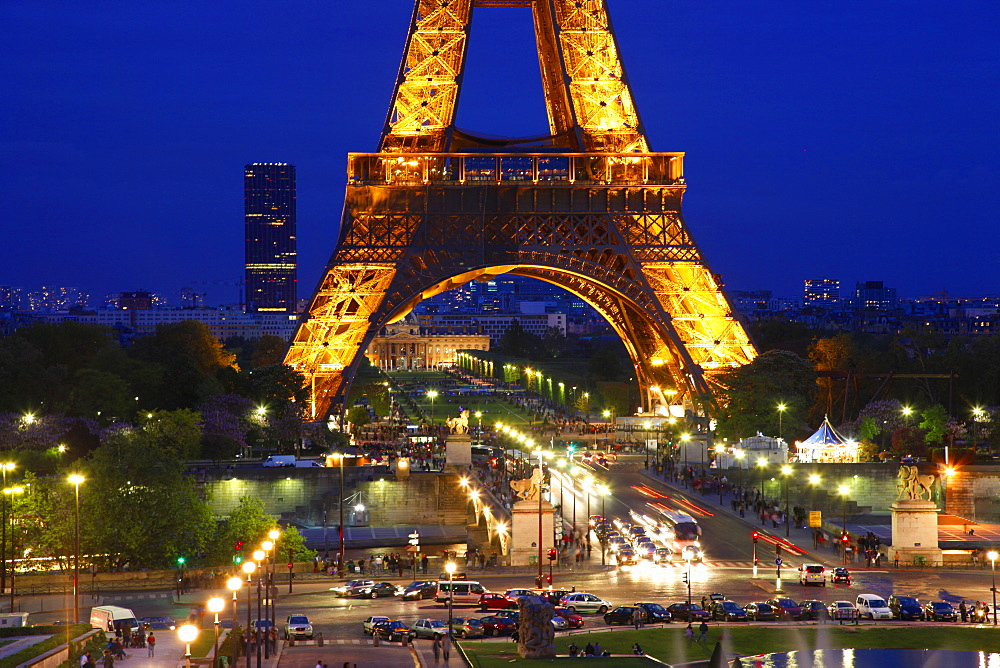 Eiffel Tower at night, Paris, France, Europe - 396-4063