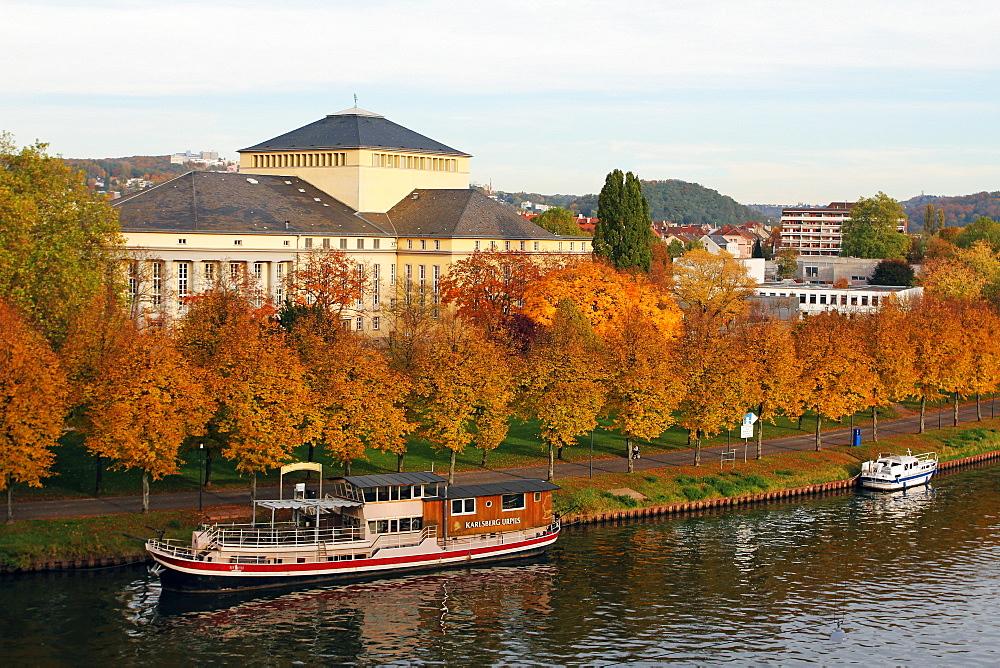 River Saar and Saarland State Theatre, Saarbrucken, Saarland, Germany, Europe