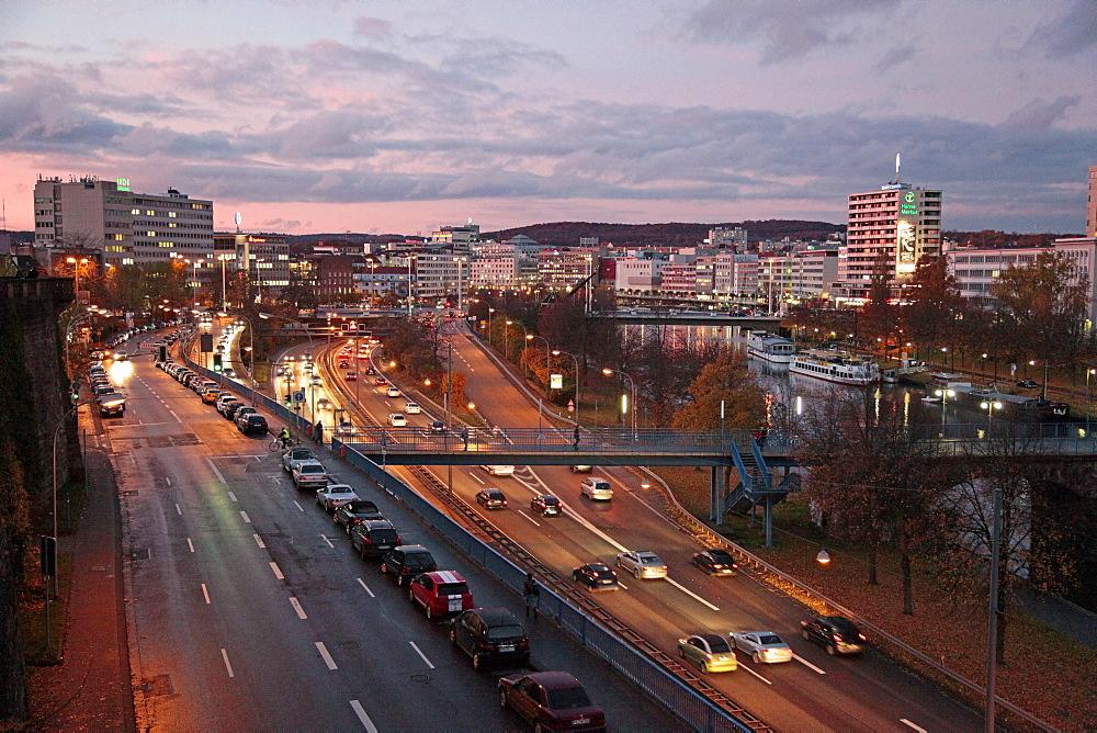River Saar and city, Saarbrucken, Saarland, Germany, Europe