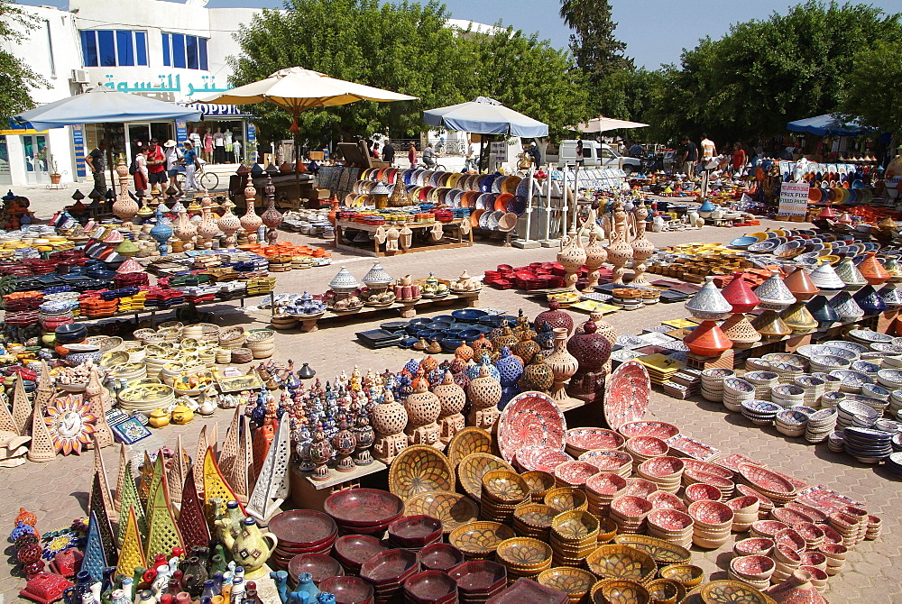 Pottery products in the market at Houmt Souk, Island of Jerba, Tunisia, North Africa, Africa
