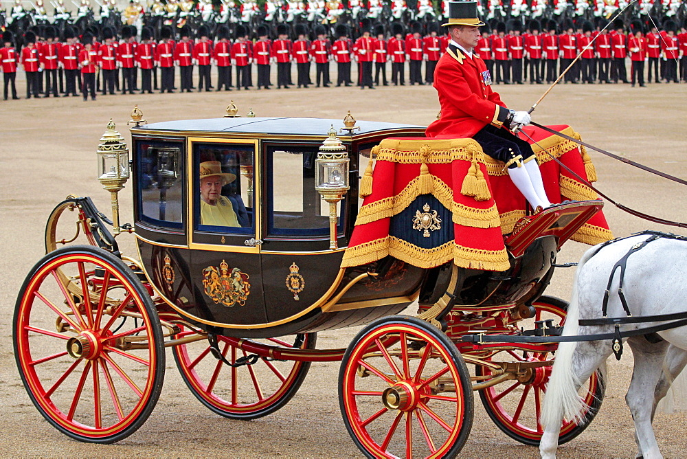 HM The Queen, Trooping the Colour 2012, The Queen's Birthday Parade, Whitehall, Horse Guards, London, England, United Kingdom, Europe