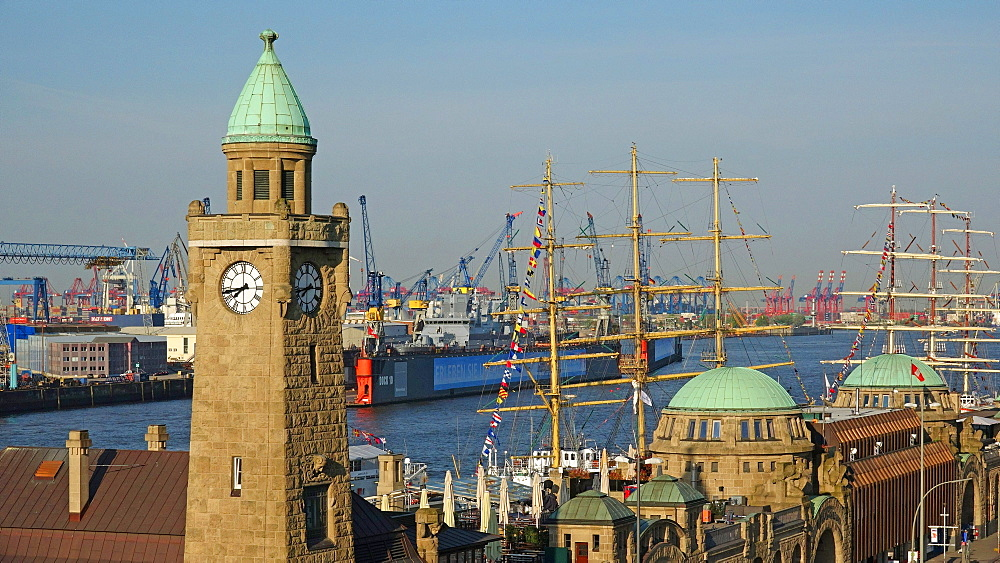Landing Stages, Elbe River, Hamburg, Germany, Europe