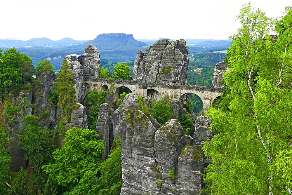 Bastei Bridge on Bastei Rock Formation near Rathen, Saxon Switzerland, Saxony, Germany, Europe