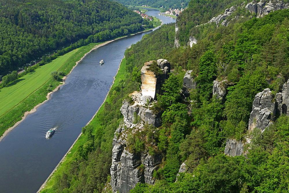 Bastei Rock Formation near Rathen, Saxon Switzerland, Saxony, Germany, Europe