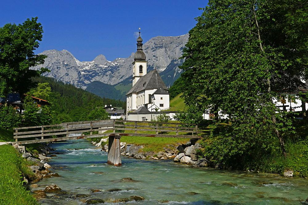 Parish Church against Reiteralpe, Ramsau, Upper Bavaria, Bavaria, Germany