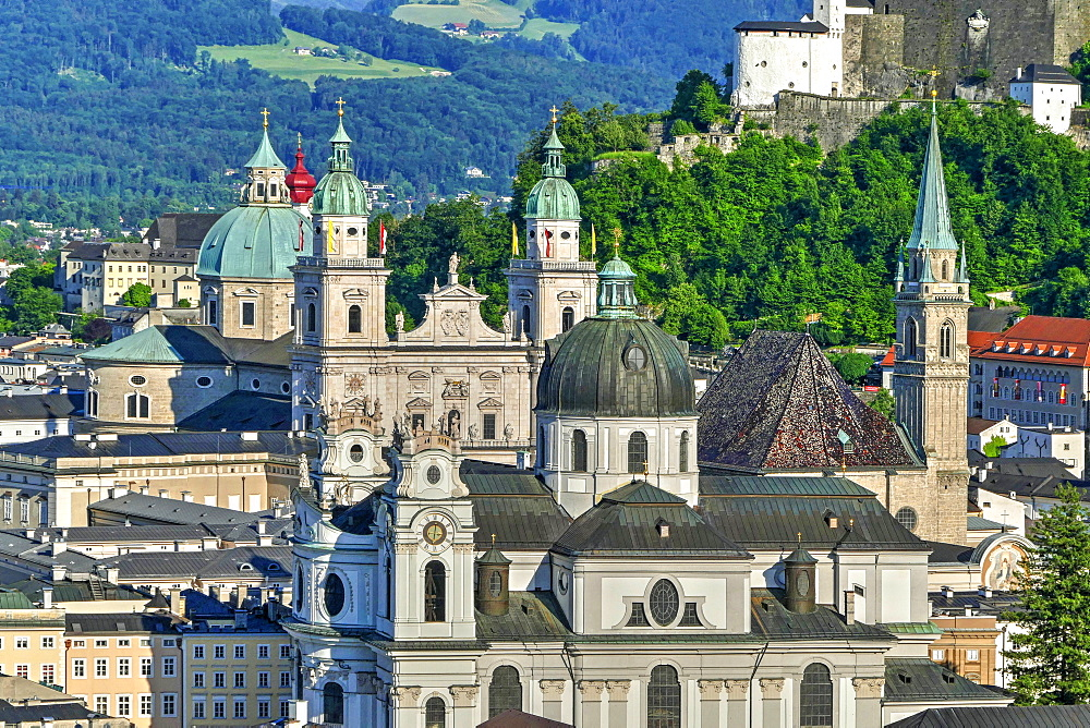 View towards Salzburg Cathedral, Collegiate Church and Fortress Hohensalzburg, Salzburg, Austria, Europe